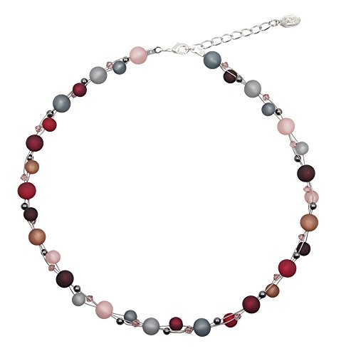 perla pd design Halskette aus echten Polarisperlen ca. 45 cm + 4.5 cm PKS1018 mit Swarovski Elements grau rosa Bordeaux -