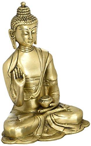 Shalinindia Budista Decoración Latón Metal Arte Estatua de Buda Enlightenment 6Pulgadas