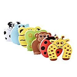Qpower Baby Safety Foam Door Stoppers, Animal Design, Pack of 6