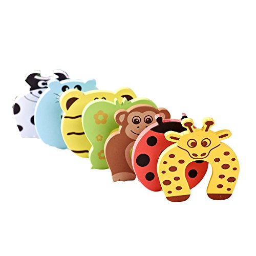 AKORD Baby Safety Foam Door Stoppers, Animal Design, Pack of 6