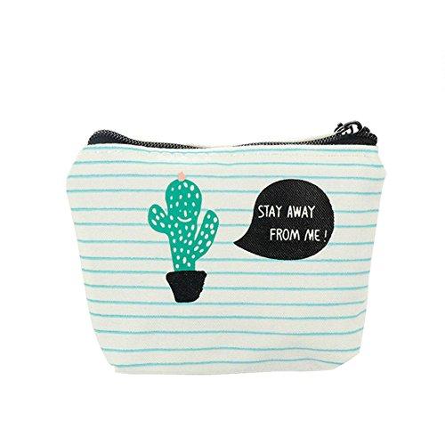 DoaRier daorier ragazza portafoglio Lino di cactus modello Zip Wallet monete sacchetto caso supporto Portafoglio Mini Portafoglio Portamonete
