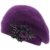 Boina de Las señoras de la Primavera y el otoño Mujer Sombrero Pintor Cálido Sombrero de Piel de Conejo Salvaje Amarillo Sombrero de Arce Sombrero Casual Boina Moda,Purple