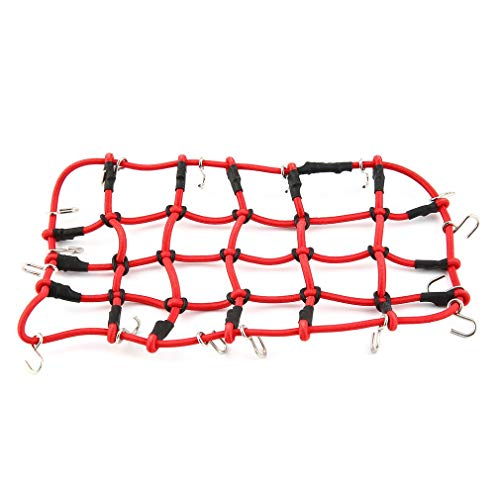 DERNON T-Power Roof Rack Luggage Net Mesh Cover with Hook for 1/10 Crawler RC Car Red