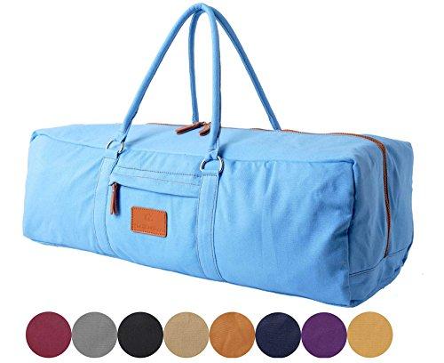 Sac de yoga »Ghanpati« de #DoYourYoga, en toile de coton de haute qualité (toile à voile), fabriqué avec soin, pour les matelas de yoga, de pilates, de fitness et de gymnastique ULTRA-ÉPAIS de dimensions allant jusqu'à 186 cm x 62 cm x 1,5cm, bleu marinee
