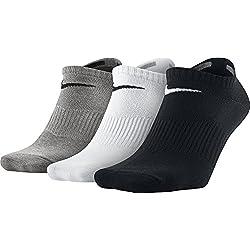 Nike Lightweight No-Show, Calcetines, Hombre, Negro/Gris/Blanco, 42-46, Pack de 3