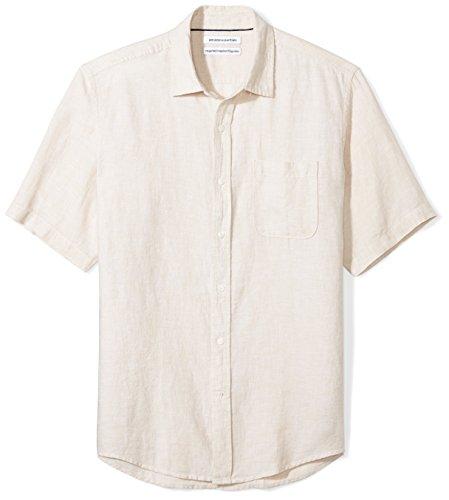 Amazon Essentials Regular-Fit Short-Sleeve Linen Shirt Button-Down-Shirts, Natural, US (EU XL-XXL)