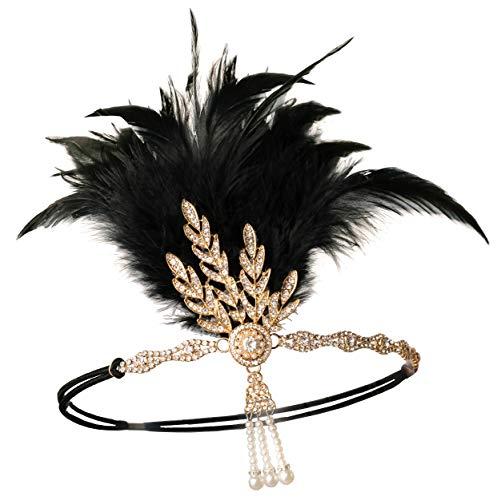 Zivyes 1920er Jahre Flapper Stirnband Roaring 20s Zubehör Hochzeit Headpiece große Gatsby Haarschmuck (1-Gold und Schwarze ()