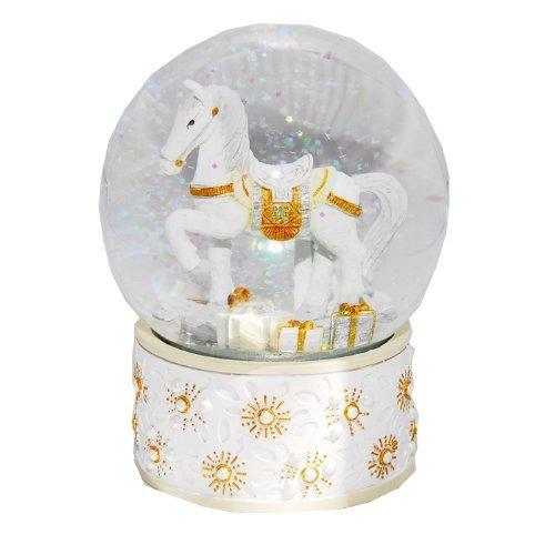 Schneekugel Schaukelpferd weiß gold - 20013
