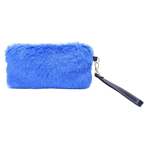 Blue : Dairyshop Lady Women Faux Rabbit Fur Zipper Wallet Plush Purse Handbag For Evening Party