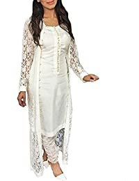 Zipker Party Wear Suit For Women & Girls (Party Wear Salwar Suit Latest Design_Cream Color_Free Size_With Jacket)