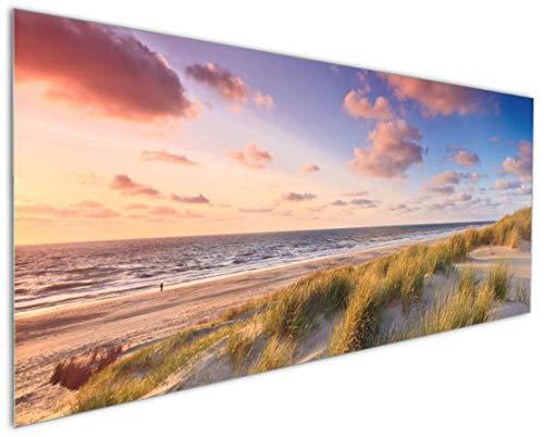 Wallario Küchenrückwand aus Glas, in Premium Qualität, Motiv: Abendspaziergang am Strand - Sonnenuntergang über dem Meer | Spritzschutz | abwischbar | pflegeleicht