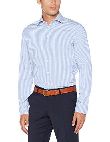 Seidensticker Slim Herren Langarm Bügelfrei Stretch Formal Hemd Blau (Hellblau 14)