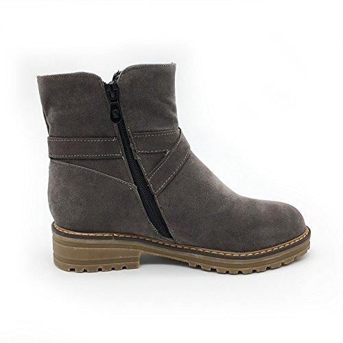 WIKAI Donna moda Stivali Stivali Stivali moto Autunno Inverno Nabuck Pelle Casual Party & abito da sera Bowknot Zipper tacco basso piattaforma,Black,US8 / EU39 / UK6 / CN39 Black