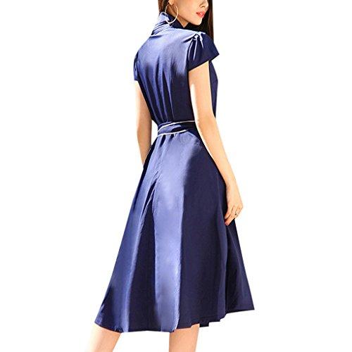 MNBS Femme Classique 1950S Style Ourlet A-ligne Élégant Robes Vintage Couleur Unie Navy