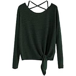 MORCHAN Femmes Quotidien Casual Automne Hiver Slim détendu élégant Crow Polyester Tied Up À Manches Longues Solide Mode O-Neck Tops Blouse T-Shirt(FR-40 / CN-M,Vert)