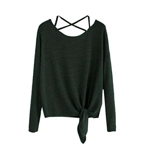 MORCHAN Femmes Quotidien Casual Automne Hiver Slim détendu élégant Crow Polyester Tied Up À Manches Longues Solide Mode O-Neck Tops Blouse T-Shirt(FR-46 / CN-XL,Vert)