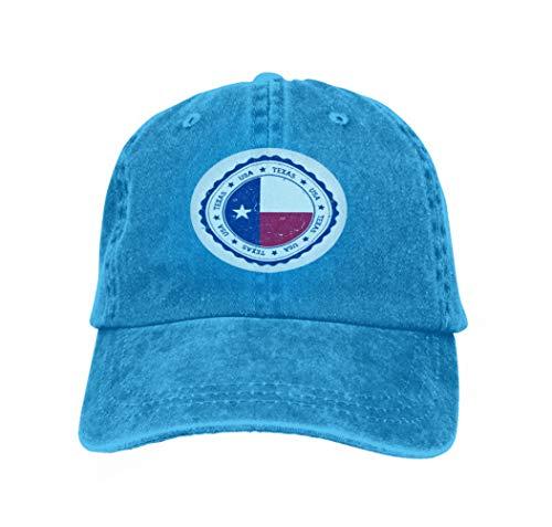 uctublue Baseball Cowboy Hat Texas Flag Badge Grunge Rubber Stamp Vintage travel Stamp ci Blue ()