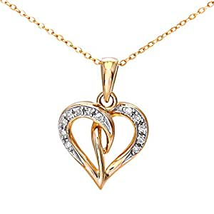 Naava 9 ct Yellow Gold Pave Set Diamond Heart Pendant and Chain of 46 cm