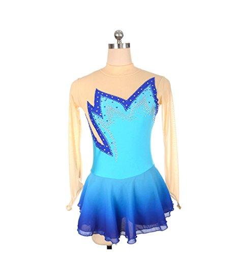 Heart&M Eiskunstlauf-Kleid-Wettbewerbs-Leistung Spandex handgemachter Rhinestone-langer Hülsen-Eislauf-Rock für Frauen und Mädchen , xxs