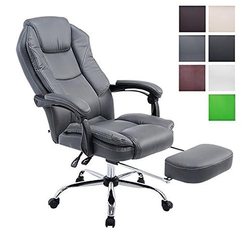 CLP Fauteuil bureau ergonomique CASTLE, fauteuil relax avec repose-pieds EXTENSIBLE et accoudoirs, poids admis 130 kg, réglable en hauteur 47 - 57 cm gris