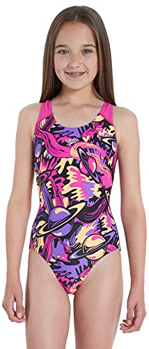 Speedo Alv Spbk Jf Costume da Bagno Junior, Black/Pink/Purple, 30 UK (12 anni)