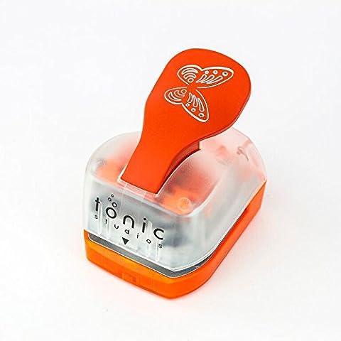 Tonic Studios 711E - Fustellatrice Intrica, motivo: farfalla che sbatte le ali, colore: bianco/arancione - Punch Studio Carte