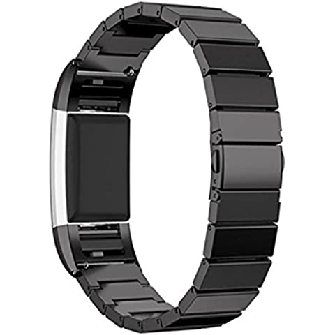 Bands for Fitbit Charge 2, SoftFloat Universal Stainless Steel Watch Band Strap Bracelet + Connector for 2016 Fitbit Charge 2 Heart Rate + Fitness Wristband, Smart Watch NOT Included, For Fitbit Charge 2 (Black)