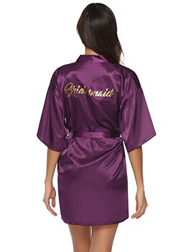 Abollria Bata Mujer Kimono Seda Corto Boda