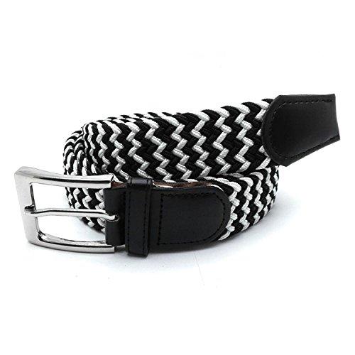 MYB Cinturón elástico trenzado para hombres y mujeres - múltiples colores y tamaños (105 - 110 cm, Negro - Blanco)