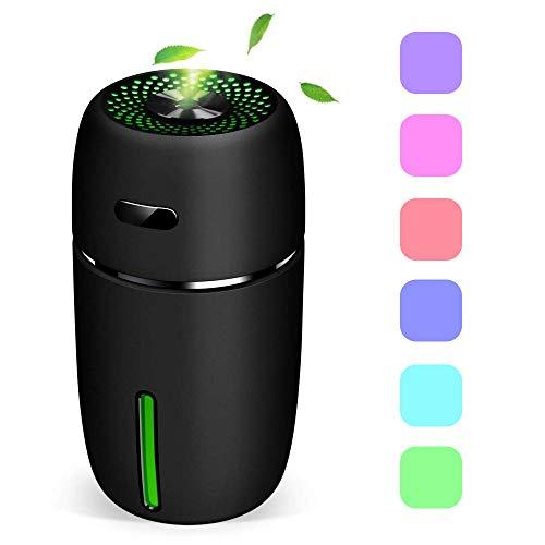 Mini USB Luftbefeuchter,200ml Raumbefeuchter mit 7 LED Farbwechse,Tragbarer Luftbefeuchter für Baby Auto Kinderzimmer Schlafzimmer Reise Büro, Einstellbarer Nebel Befeuchter (Schwarz) (Reise-luftbefeuchter)