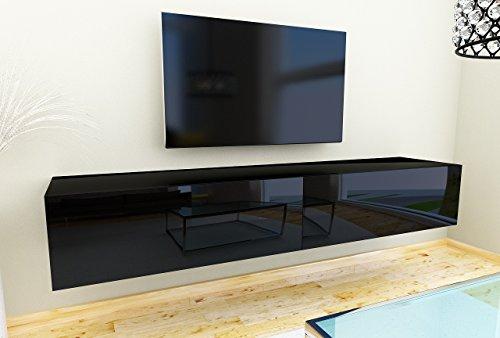 TV Lowboard Hängeboard Tisch Board Schrank mit Hochglanz 180 cm Länge weiß (korpus hochglanz schwarz + schwarz hochglanz front)