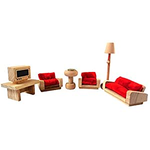 Natural Wood Rustic Handmade Children's Wooden Toy Dolls House Lounge Set of 10 Pcs