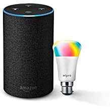 Amazon Echo (Black) Bundle with Wipro 7W Smart Color Bulb