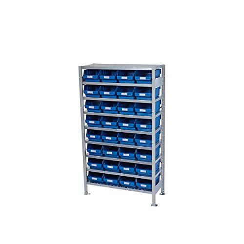 Rayonnage emboîtable avec bacs - hauteur rayonnage 1790 mm - rayonnage de base, profondeur 400 mm, 32 bacs bleus - armoire pour bacs à bec armoires pour bacs à bec bacs de stockage bacs pour rayonnages emboîtables conteneurs à visser rayonnage rayonnage