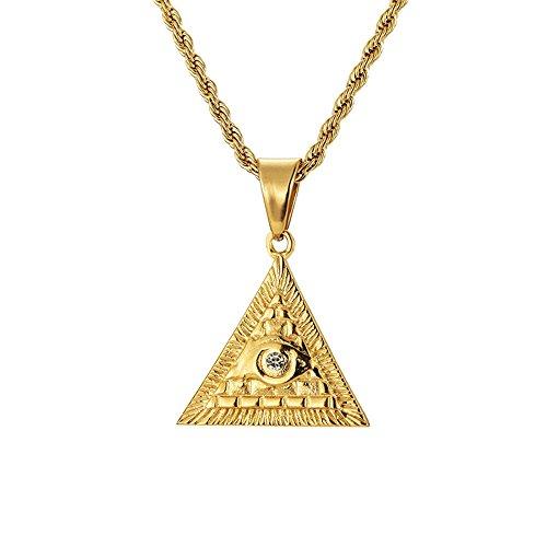 MCSAYS Hip Hop joyería ojo de Horus pirámide colgante cadena de serpiente de acero inoxidable collar de Egipto accesorios de moda