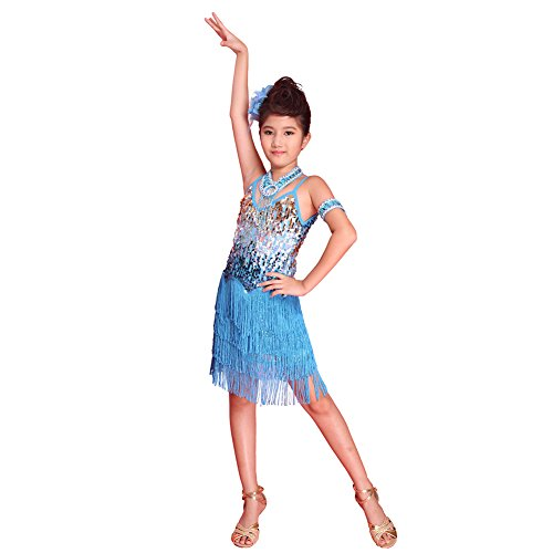 Brightup Sequined Latein SalsaTassel Tanzkleid Kinder Partei Dancewear (Tanz Kostüm Swing)