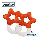 Dentistar® Beißring kühlend im 2er-Set - Stern - Zahnungshilfe Orange für Babys ab 3 Monate - Kühlbeißring Baby wassergefüllt - Made in Germany