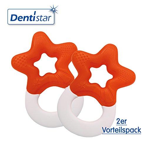Dentistar ® Beißring kühlend im 2er-Set - Stern - Zahnungshilfe Orange für Babys ab 3 Monate - Kühlbeißring Baby wassergefüllt - Made in Germany