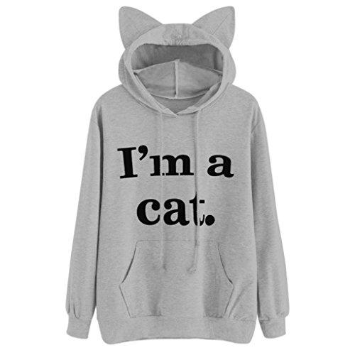 SEWORLD Langarm Kapuzenpullover Womens Cat Long Sleeve Hoodie Sweatshirt Hooded Pullover Tops Blouse (Grau, ()