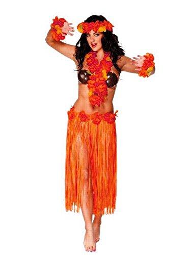 Rojo-y-naranja-adulto-hawaiana-falda-73cm