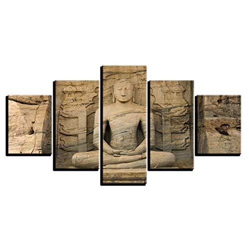 ZYBKOG 5 Leinwandgemälde auf Leinwand, HD-Bilder, modulares Wandbild, Rahmen für 5 Teile Buddha-Statue, Buddhismus, Plakate, Heimdekoration, Wohnzimmer, 40x60 40x80 40x100cm, No Frame
