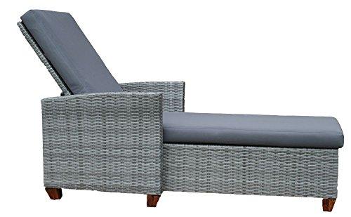 2er Set Sonnenliegen Lounge Liegen Gartenliegen aus Polyrattan inkl. 8 cm dicker Auflage, stabiler Aluminiumrahmen, Rückenlehne 5-fach verstellbar, Poly Rattan