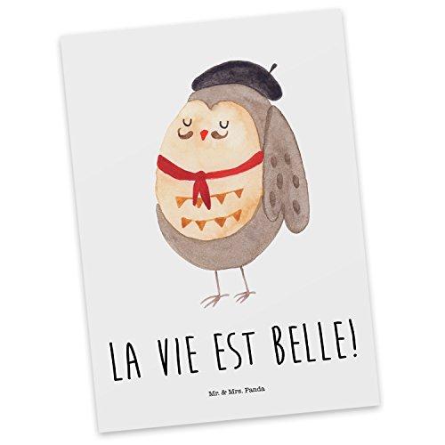 Frankreich Das Ist (Mr. & Mrs. Panda Postkarte Eule Französisch - 100% handmade in Norddeutschland - Eule, Eulen, Eule Deko, Owl, hibou, La vie est belle, das Leben ist schön, Spruch schön, Spruch Französisch, Frankreich Postkarte, Geschenkkarte, Grußkarte, Karte, Einladung)