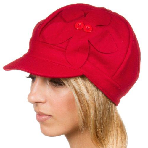 Sakkas EHA405BC Unisex Wolle Zeitungsjunge/Taxifahrer Winter Hut/Kappe mit Knopf Blume Akzent (6 Farben) - Rot/eine Größe
