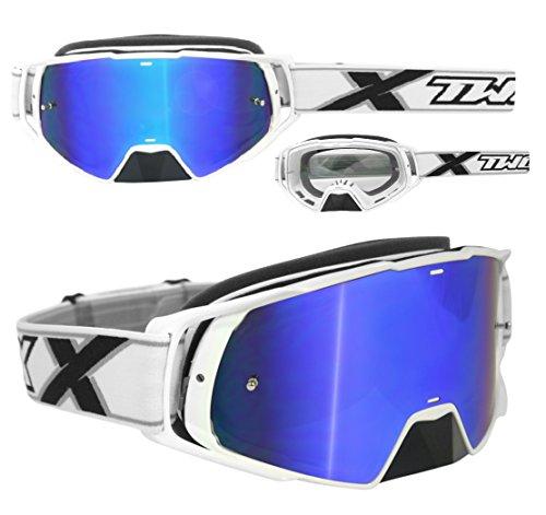 TWO-X Rocket Crossbrille weiss Glas verspiegelt blau MX Brille Nasenschutz Motocross Enduro Spiegelglas Motorradbrille Anti Scratch MX Schutzbrille Nose Guard