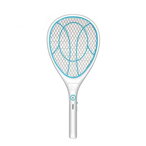 Xmcz Elektrische Fliegenklatsche Fliegenfänger Lithium-Batterie USB mit LED 3000V 3-lagiges Sicherheitsnetz Insektenvernichter Physischer Mückenkiller (Blau)