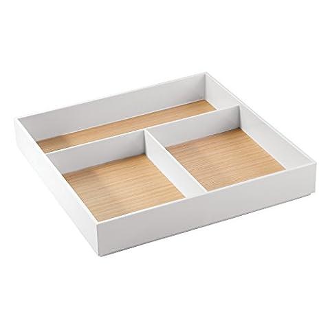 Interdesign 93230EU Realwood Rangement de Cosmétiques pour Meuble de Salle de Bain Bois Blanc 30,3 x 30,3 x 4,90 cm