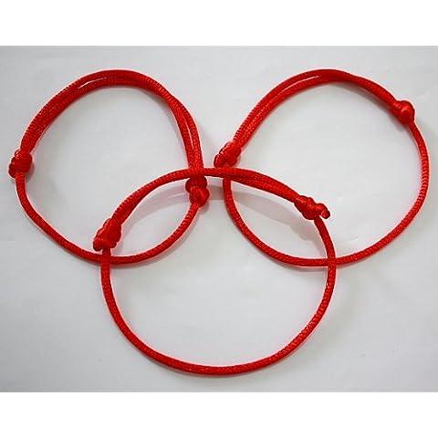 Set di 3 braccialetti Kabbale in corda, colore: rosso