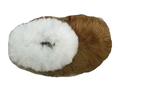 Alpacaandmore Braun/weiße Unisex Hausschuhe Pantoffeln Surialpaka Fell (33)