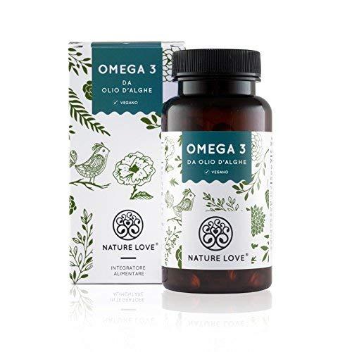 NATURE LOVE® Omega 3 capsule da olio di alghe puro - qualità premium: Senza olio di pesce. 120 capsule. Con acidi grassi essenziali EPA e DHA. Vegan, alto dosaggio e prodotto in Germania